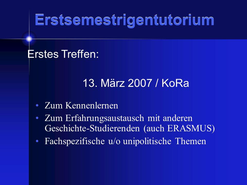 Zum Kennenlernen Zum Erfahrungsaustausch mit anderen Geschichte-Studierenden (auch ERASMUS) Fachspezifische u/o unipolitische Themen Erstes Treffen: 13.