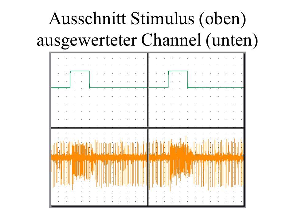 Ausschnitt Stimulus (oben) ausgewerteter Channel (unten)