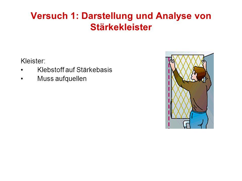 Versuch 1: Darstellung und Analyse von Stärkekleister Kleister: Klebstoff auf Stärkebasis Muss aufquellen