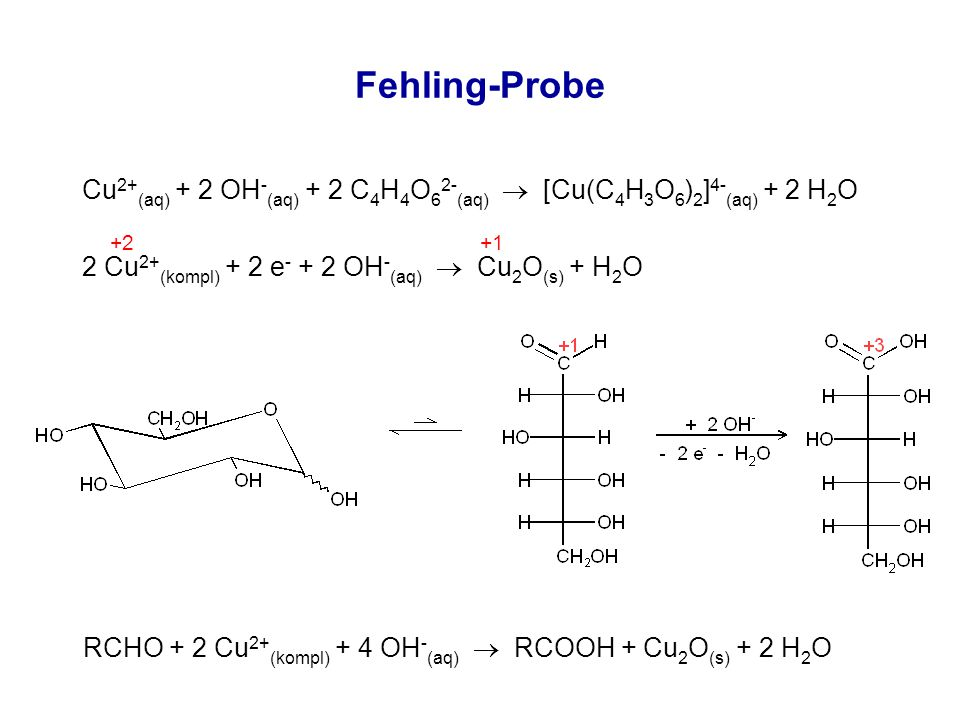 Fehling-Probe Cu 2+ (aq) + 2 OH - (aq) + 2 C 4 H 4 O 6 2- (aq)  [Cu(C 4 H 3 O 6 ) 2 ] 4- (aq) + 2 H 2 O 2 Cu 2+ (kompl) + 2 e - + 2 OH - (aq)  Cu 2 O (s) + H 2 O RCHO + 2 Cu 2+ (kompl) + 4 OH - (aq)  RCOOH + Cu 2 O (s) + 2 H 2 O +2 +1