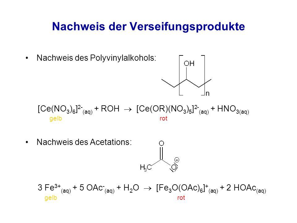 Nachweis der Verseifungsprodukte Nachweis des Polyvinylalkohols: Nachweis des Acetations: gelb rot [Ce(NO 3 ) 6 ] 2- (aq) + ROH  [Ce(OR)(NO 3 ) 5 ] 2- (aq) + HNO 3(aq) 3 Fe 3+ (aq) + 5 OAc - (aq) + H 2 O  [Fe 3 O(OAc) 6 ] + (aq) + 2 HOAc (aq)