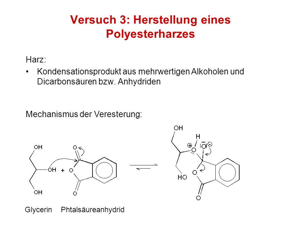 Versuch 3: Herstellung eines Polyesterharzes Harz: Kondensationsprodukt aus mehrwertigen Alkoholen und Dicarbonsäuren bzw. Anhydriden Mechanismus der