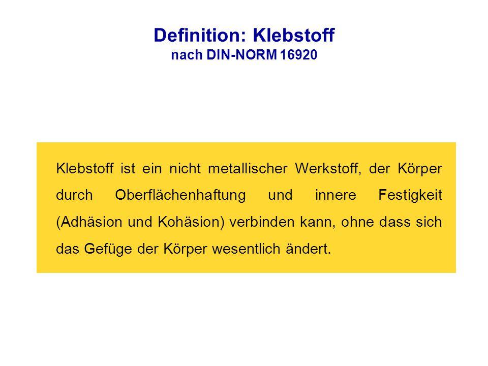 Definition: Klebstoff nach DIN-NORM 16920 Klebstoff ist ein nicht metallischer Werkstoff, der Körper durch Oberflächenhaftung und innere Festigkeit (A