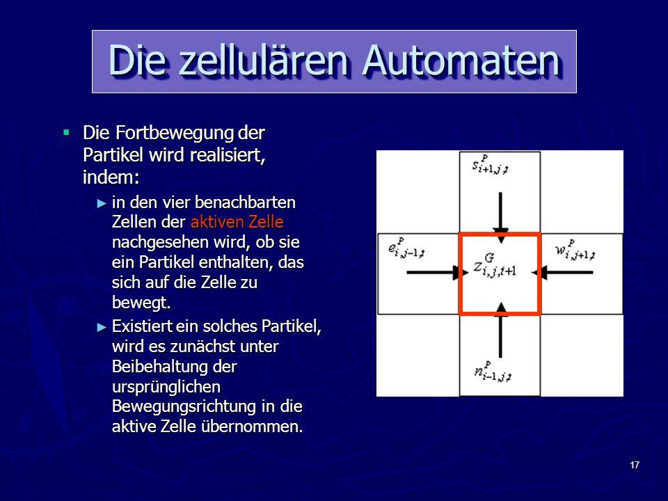 17 Die zellulären Automaten  Die Fortbewegung der Partikel wird realisiert, indem: ► in den vier benachbarten Zellen der aktiven Zelle nachgesehen wird, ob sie ein Partikel enthalten, das sich auf die Zelle zu bewegt.