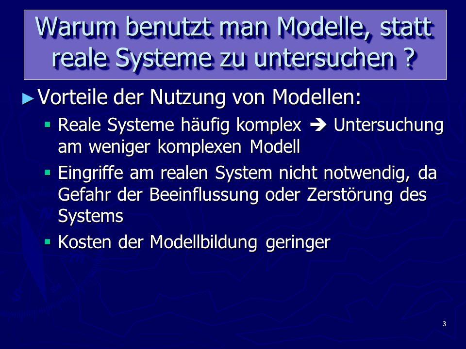 3 Warum benutzt man Modelle, statt reale Systeme zu untersuchen .