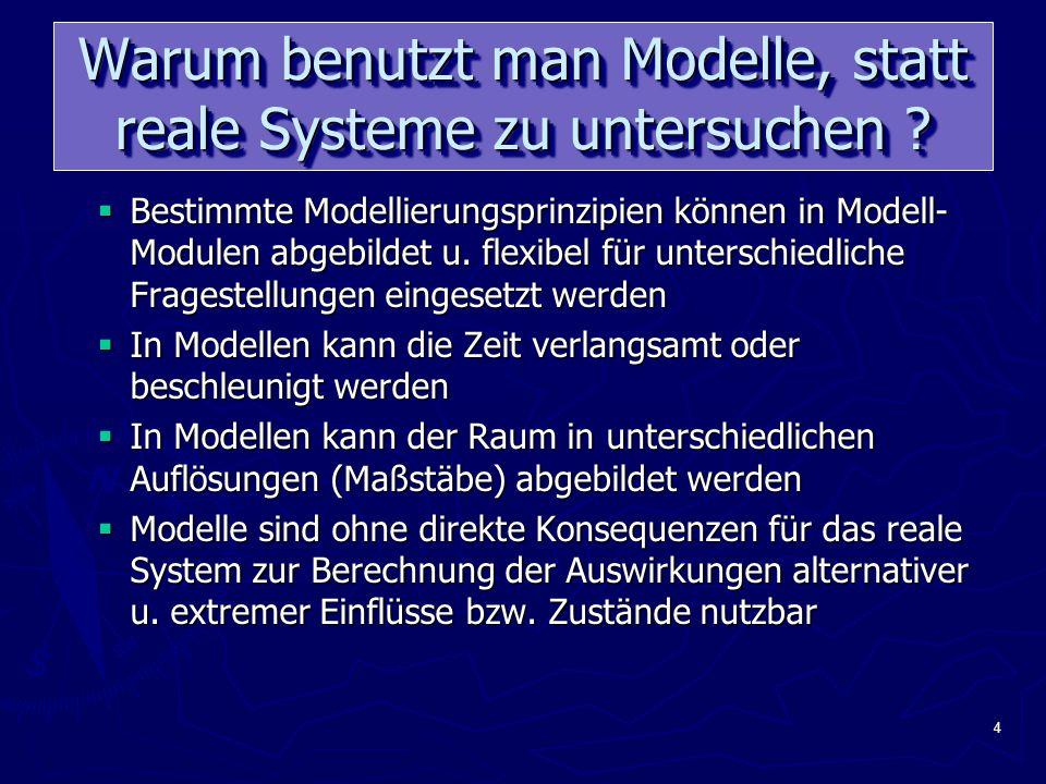 4 Warum benutzt man Modelle, statt reale Systeme zu untersuchen .