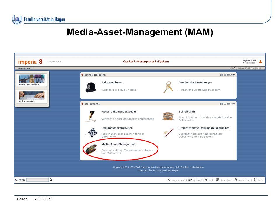 20.06.2015Folie 2 MAM-Übersicht: IMAGES 1.Direkt unter IMAGES ist Kein Inhalt vorzufinden.