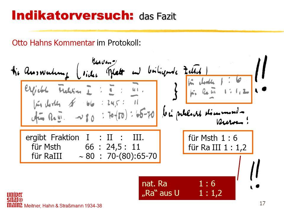 Meitner, Hahn & Straßmann 1934-38 17 Indikatorversuch: das Fazit Otto Hahns Kommentar im Protokoll: ergibt Fraktion I : II : III. für Msth 66 : 24,5 :