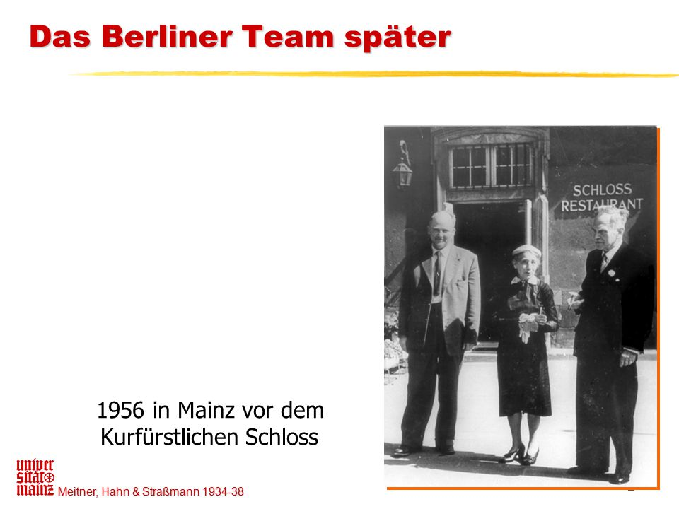 Meitner, Hahn & Straßmann 1934-38 2 Das Berliner Team später 1956 in Mainz vor dem Kurfürstlichen Schloss