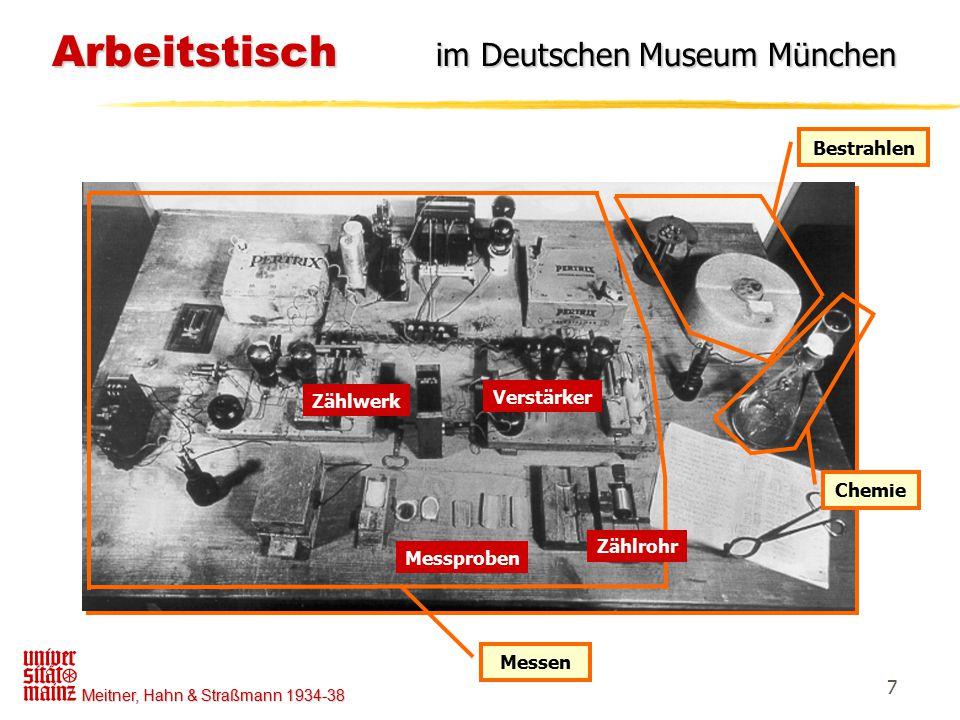 Meitner, Hahn & Straßmann 1934-38 7 Arbeitstisch im Deutschen Museum München Arbeitstisch im Deutschen Museum München Bestrahlen Chemie Messen Zählroh