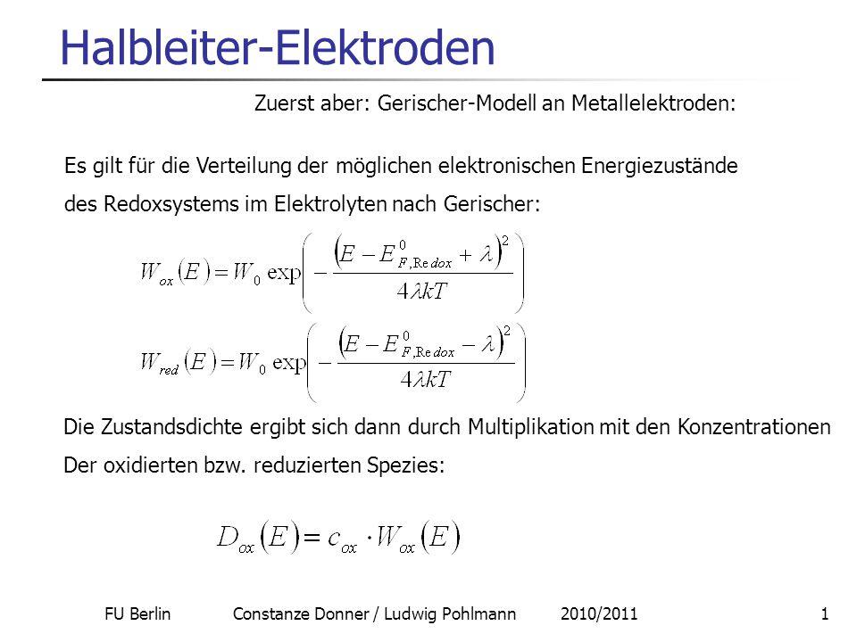 FU Berlin Constanze Donner / Ludwig Pohlmann 2010/20111 Halbleiter-Elektroden Zuerst aber: Gerischer-Modell an Metallelektroden: Es gilt für die Verte