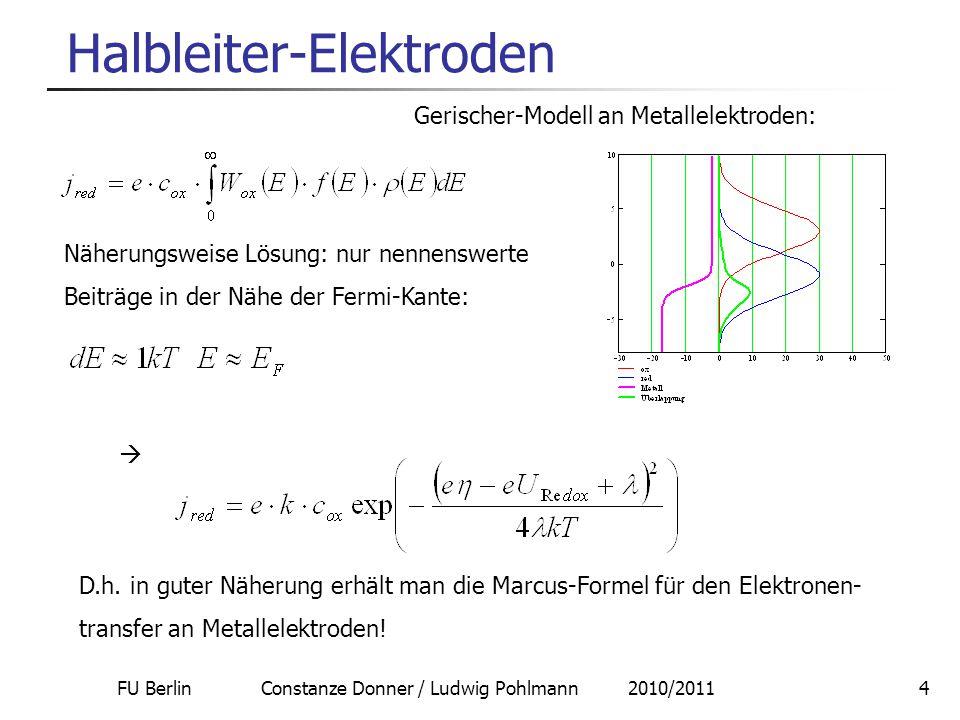 FU Berlin Constanze Donner / Ludwig Pohlmann 2010/20114 Halbleiter-Elektroden Gerischer-Modell an Metallelektroden: Näherungsweise Lösung: nur nennens
