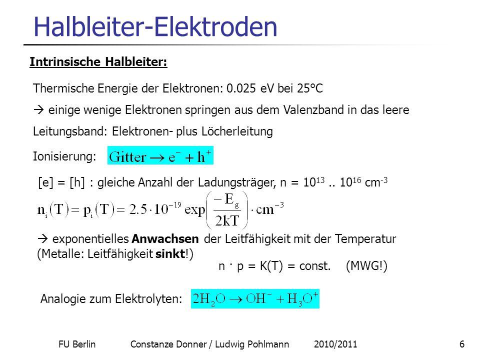 FU Berlin Constanze Donner / Ludwig Pohlmann 2010/20116 Halbleiter-Elektroden [e] = [h] : gleiche Anzahl der Ladungsträger, n = 10 13.. 10 16 cm -3 In