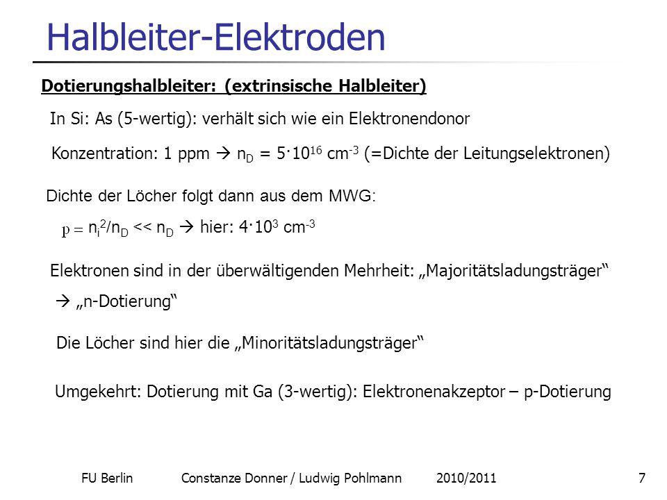 FU Berlin Constanze Donner / Ludwig Pohlmann 2010/20117 Halbleiter-Elektroden Dotierungshalbleiter: (extrinsische Halbleiter) In Si: As (5-wertig): ve