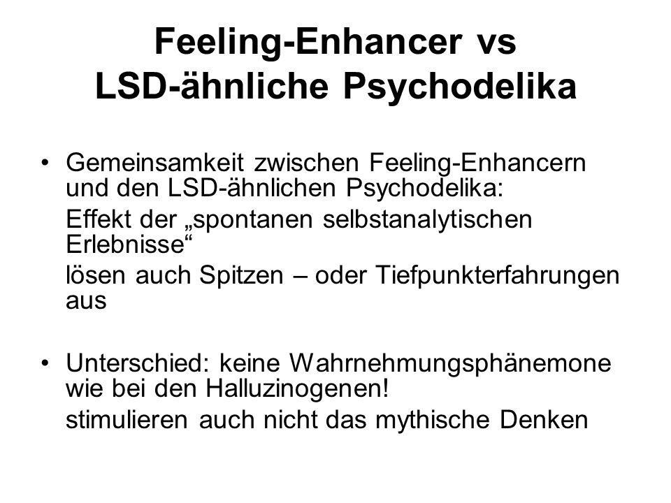 """Feeling-Enhancer vs LSD-ähnliche Psychodelika Gemeinsamkeit zwischen Feeling-Enhancern und den LSD-ähnlichen Psychodelika: Effekt der """"spontanen selbstanalytischen Erlebnisse lösen auch Spitzen – oder Tiefpunkterfahrungen aus Unterschied: keine Wahrnehmungsphänemone wie bei den Halluzinogenen."""