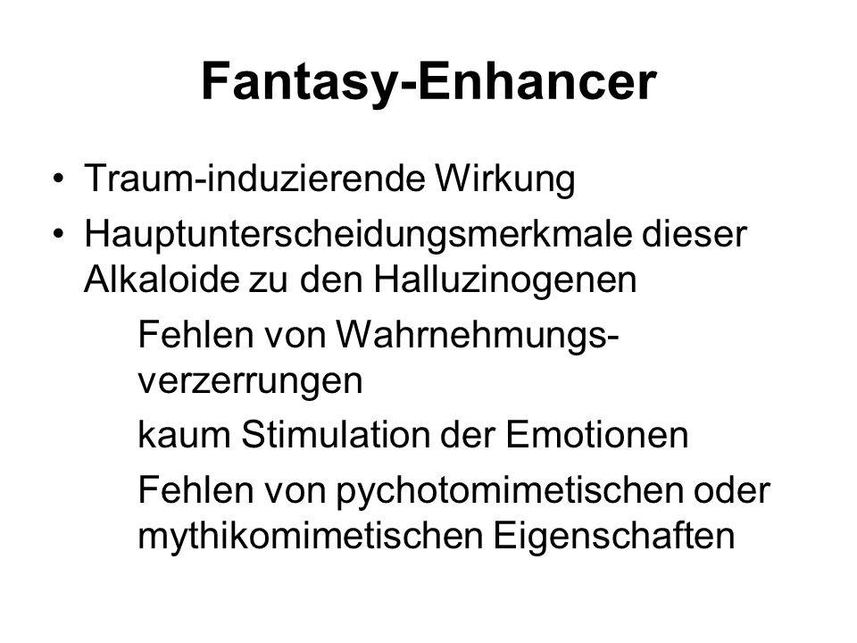 Fantasy-Enhancer Traum-induzierende Wirkung Hauptunterscheidungsmerkmale dieser Alkaloide zu den Halluzinogenen Fehlen von Wahrnehmungs- verzerrungen kaum Stimulation der Emotionen Fehlen von pychotomimetischen oder mythikomimetischen Eigenschaften