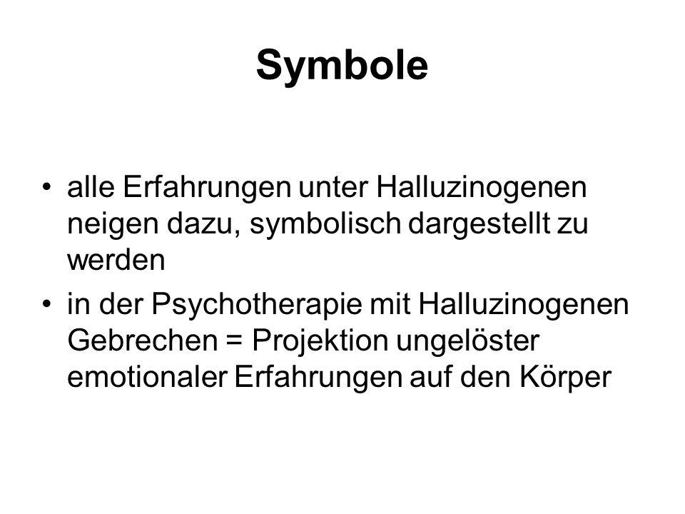 Symbole alle Erfahrungen unter Halluzinogenen neigen dazu, symbolisch dargestellt zu werden in der Psychotherapie mit Halluzinogenen Gebrechen = Projektion ungelöster emotionaler Erfahrungen auf den Körper