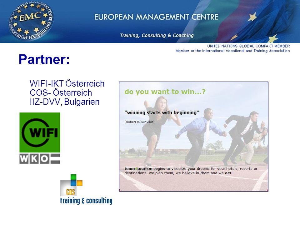 Partner: WIFI-IKT Österreich COS- Österreich IIZ-DVV, Bulgarien