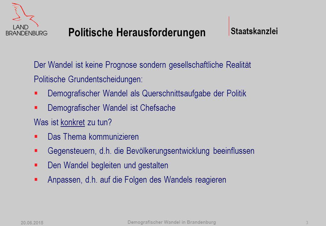 Demografischer Wandel in Brandenburg 20.06.2015 3 Der Wandel ist keine Prognose sondern gesellschaftliche Realität Politische Grundentscheidungen:  Demografischer Wandel als Querschnittsaufgabe der Politik  Demografischer Wandel ist Chefsache Was ist konkret zu tun.