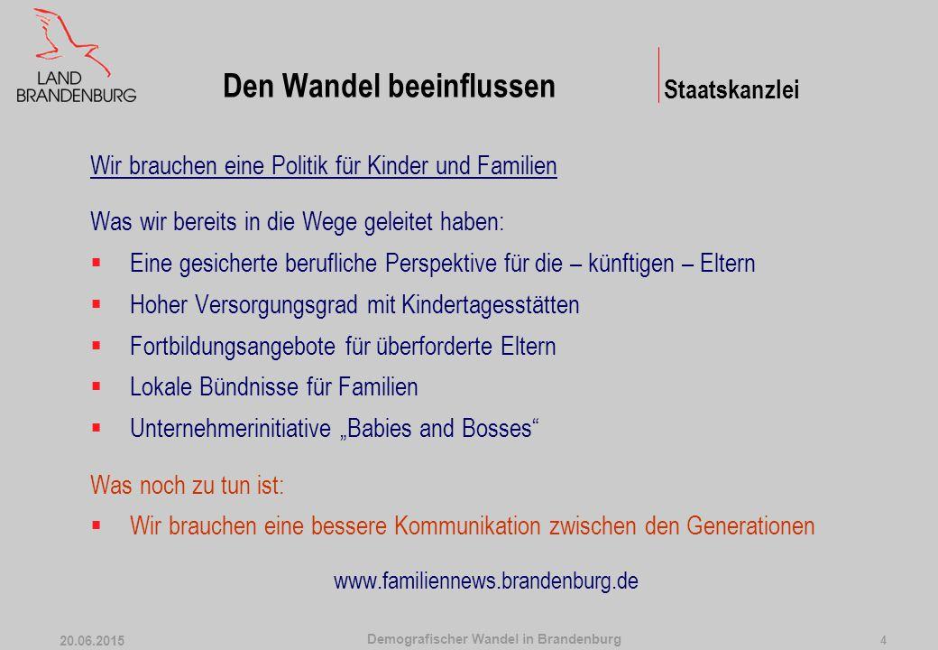 Demografischer Wandel in Brandenburg 20.06.2015 4 Wir brauchen eine Politik für Kinder und Familien Was wir bereits in die Wege geleitet haben:  Eine