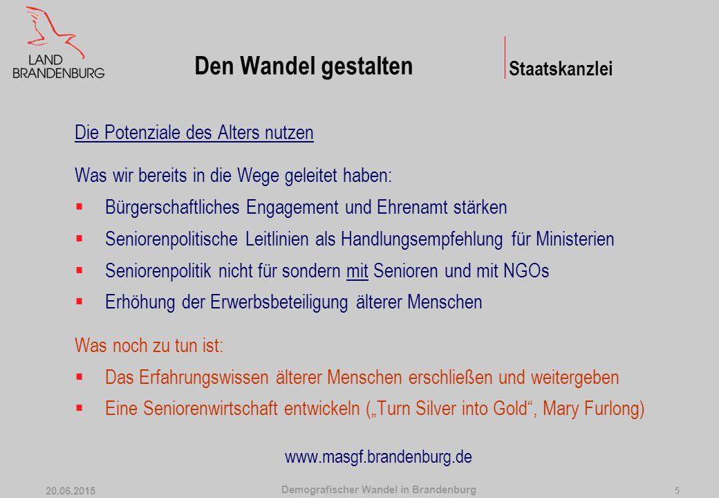 Demografischer Wandel in Brandenburg 20.06.2015 5 Die Potenziale des Alters nutzen Was wir bereits in die Wege geleitet haben:  Bürgerschaftliches En