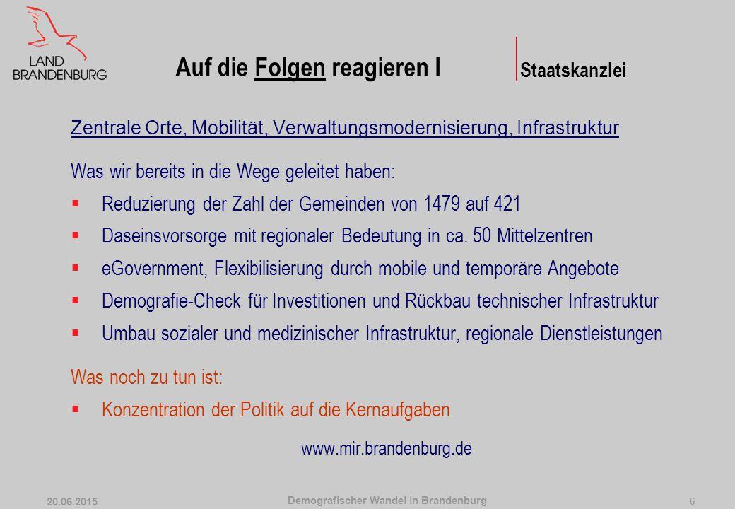 Demografischer Wandel in Brandenburg 20.06.2015 6 Zentrale Orte, Mobilität, Verwaltungsmodernisierung, Infrastruktur Was wir bereits in die Wege gelei