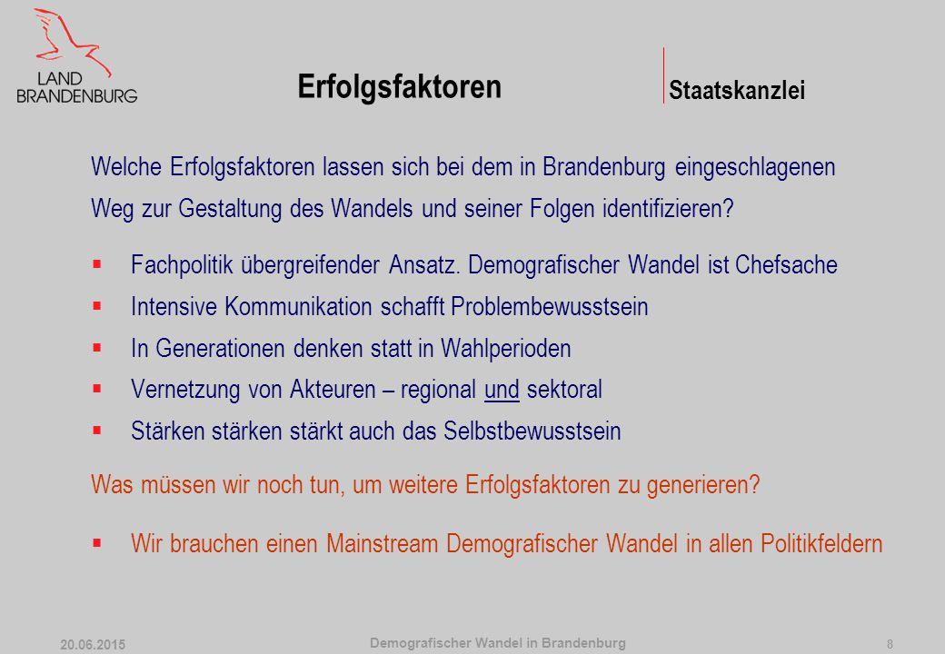 Demografischer Wandel in Brandenburg 20.06.2015 8 Welche Erfolgsfaktoren lassen sich bei dem in Brandenburg eingeschlagenen Weg zur Gestaltung des Wan