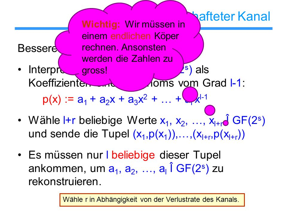 Verlustbehafteter Kanal Bessere Idee: Interpretiere a 1, a 2, …, a l Î GF(2 s ) als Koeffizienten eines Polynoms vom Grad l-1: p(x) := a 1 + a 2 x + a 3 x 2 + … + a l x l-1 Wähle l+r beliebige Werte x 1, x 2, …, x l+r Î GF(2 s ) und sende die Tupel (x 1,p(x 1 )),…,(x l+r,p(x l+r )) Es müssen nur l beliebige dieser Tupel ankommen, um a 1, a 2, …, a l Î GF(2 s ) zu rekonstruieren.