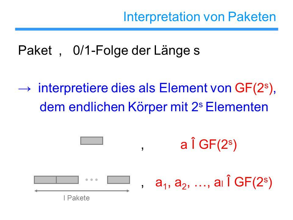 Interpretation von Paketen Paket, 0/1-Folge der Länge s → interpretiere dies als Element von GF(2 s ), dem endlichen Körper mit 2 s Elementen, a Î GF(2 s ), a 1, a 2, …, a l Î GF(2 s ) l Pakete
