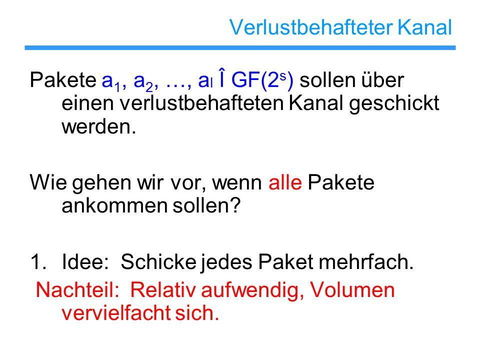 Verlustbehafteter Kanal Pakete a 1, a 2, …, a l Î GF(2 s ) sollen über einen verlustbehafteten Kanal geschickt werden.