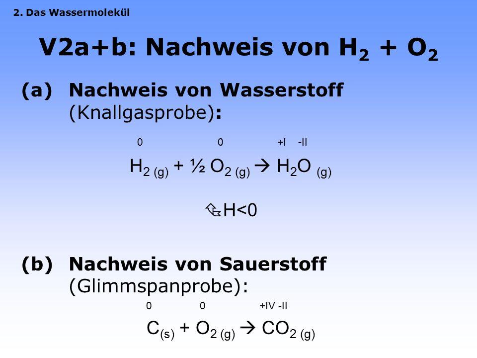V2: Elektrolyse von Wasser Eigendissoziation des Wassers: H 2 O  2 H + (aq) + OH - (aq) Anode:4 OH - (aq)  O 2 (g)  + 2 H 2 O + 4 e - Kathode:4 H +