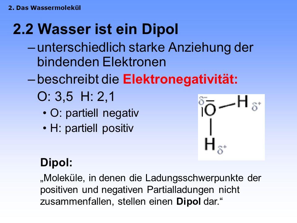 2.1 Struktur des Wassermoleküls H 2 O O-Atom: sp 3 -hybrisiert  daher Molekül gewinkelt Erwartet: Winkel von 109,5° (Tetraeder) Jedoch: Winkel von 10