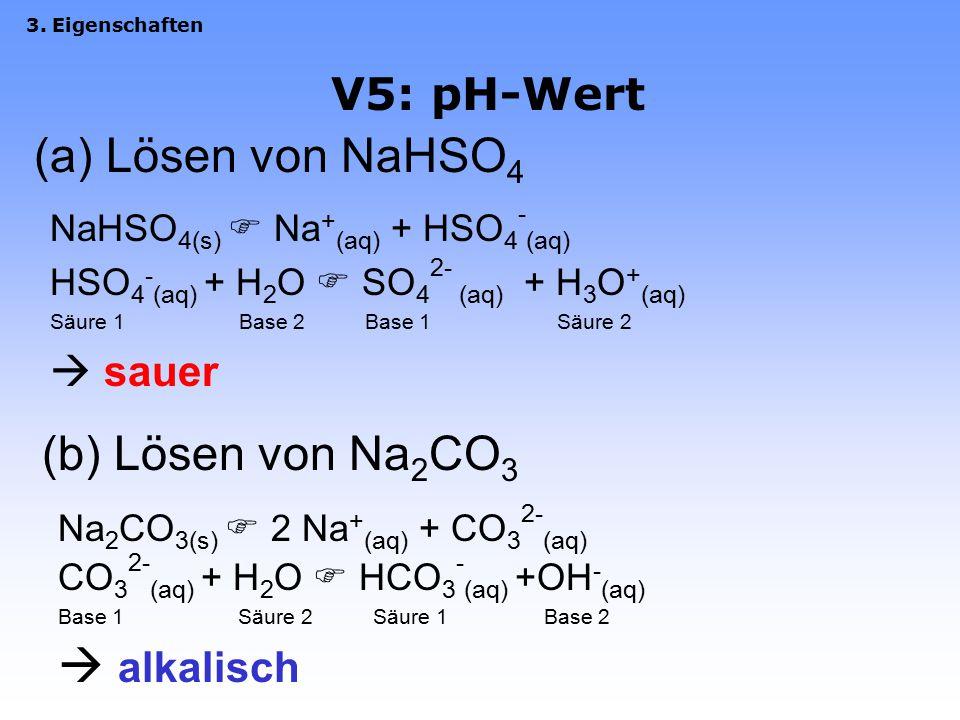3.5 Wasser definiert den pH-Wert Definition: pH = -log [c(H 3 O + )] 3. Eigenschaften Wasser hat pH 7, d.h. c(H 3 O + ) = 10 -7 mol/L Autoprotolyse de