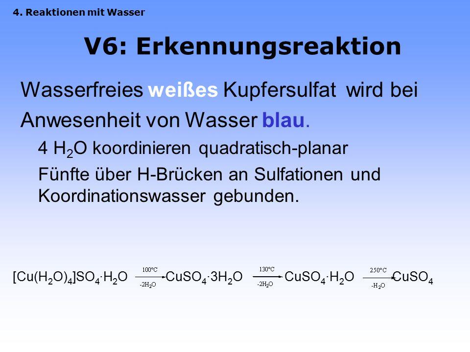 3. Eigenschaften (a) Lösen von NaHSO 4 V5: pH-Wert NaHSO 4(s)  Na + (aq) + HSO 4 - (aq) HSO 4 - (aq) + H 2 O  SO 4 2- (aq) + H 3 O + (aq) Säure 1 Ba