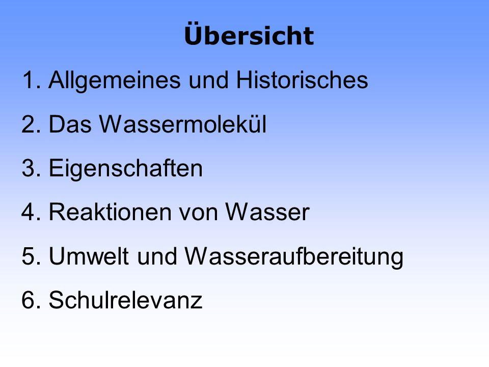 Übersicht 1.Allgemeines und Historisches 2. Das Wassermolekül 3.