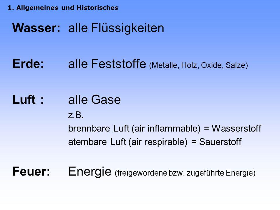 Wasser:alle Flüssigkeiten Erde:alle Feststoffe (Metalle, Holz, Oxide, Salze) Luft:alle Gase z.B.