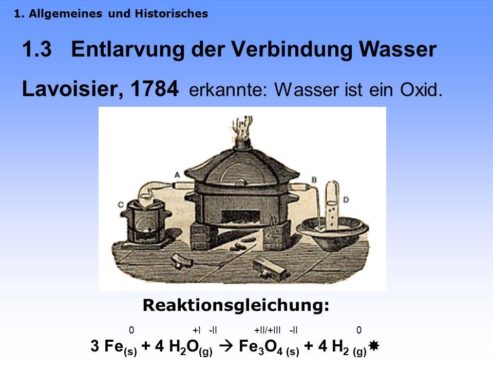 1.3 Entlarvung der Verbindung Wasser Lavoisier, 1784 erkannte: Wasser ist ein Oxid.