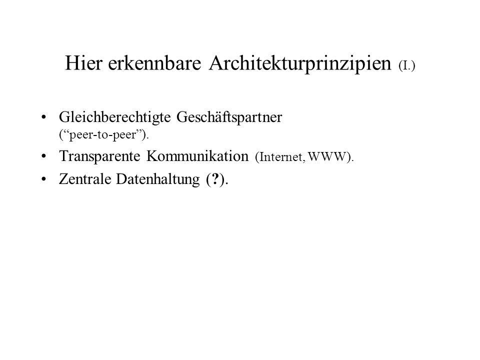 """Hier erkennbare Architekturprinzipien (I.) Gleichberechtigte Geschäftspartner (""""peer-to-peer""""). Transparente Kommunikation (Internet, WWW). Zentrale D"""