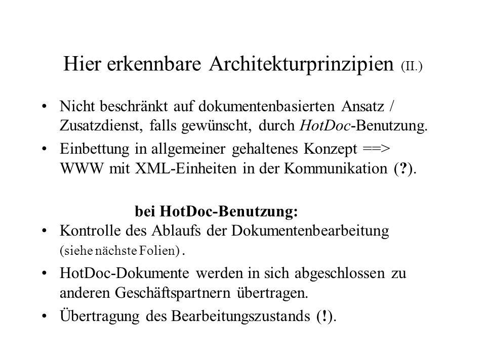 Hier erkennbare Architekturprinzipien (II.) Nicht beschränkt auf dokumentenbasierten Ansatz / Zusatzdienst, falls gewünscht, durch HotDoc-Benutzung. E