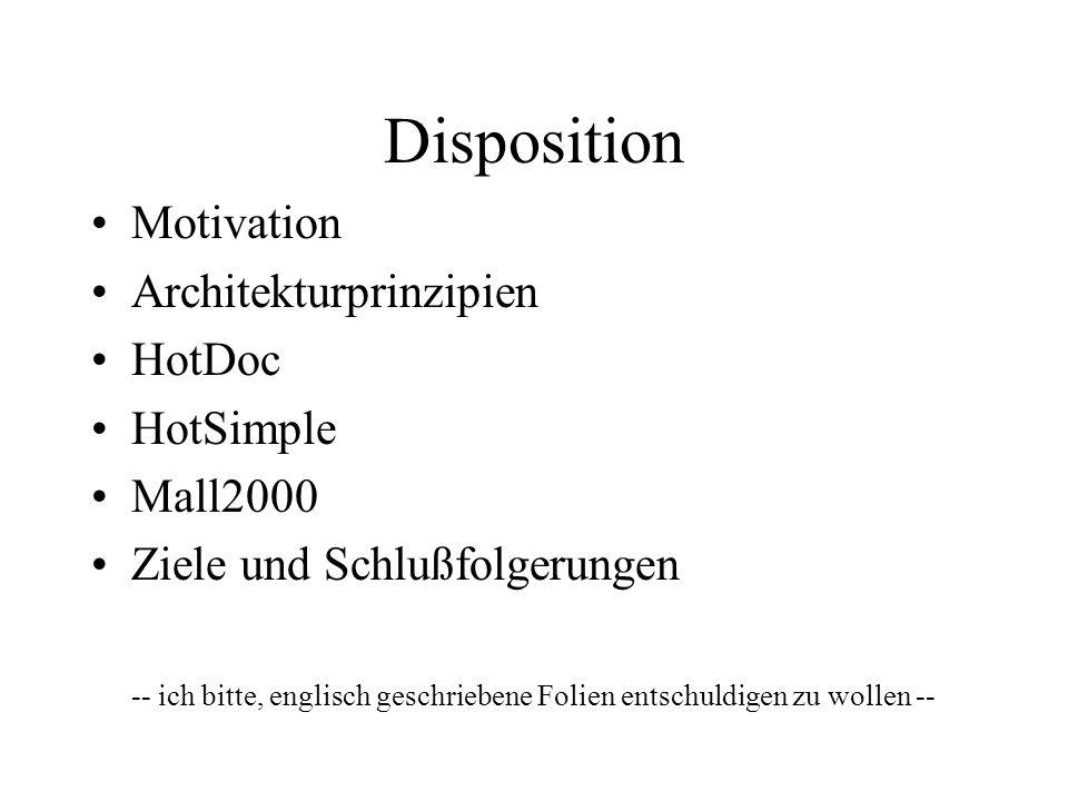 Disposition Motivation Architekturprinzipien HotDoc HotSimple Mall2000 Ziele und Schlußfolgerungen -- ich bitte, englisch geschriebene Folien entschuldigen zu wollen --