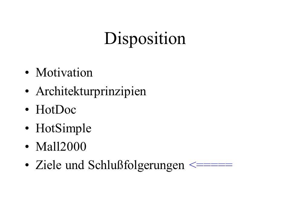 Disposition Motivation Architekturprinzipien HotDoc HotSimple Mall2000 Ziele und Schlußfolgerungen <=====