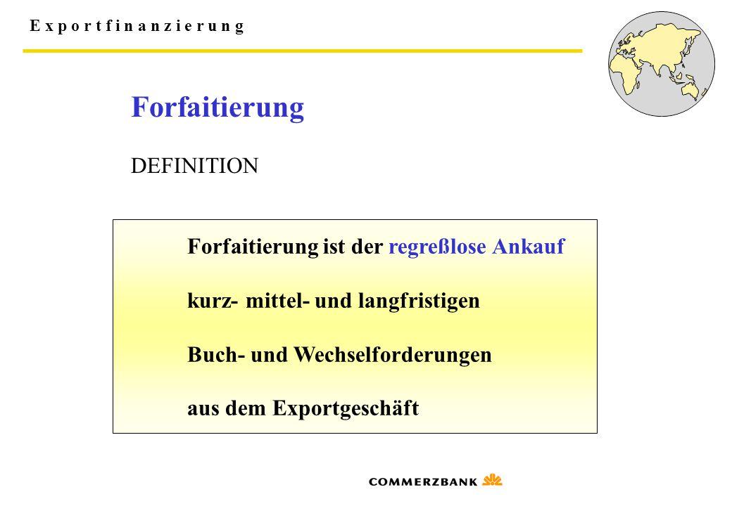 E x p o r t f i n a n z i e r u n g Forfaitierung ist der regreßlose Ankauf kurz- mittel- und langfristigen Buch- und Wechselforderungen aus dem Expor