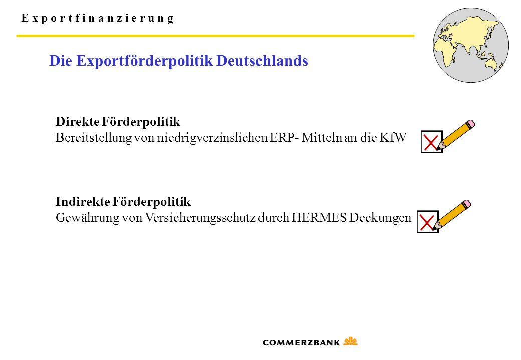 E x p o r t f i n a n z i e r u n g Die Exportförderpolitik Deutschlands Direkte Förderpolitik Bereitstellung von niedrigverzinslichen ERP- Mitteln an