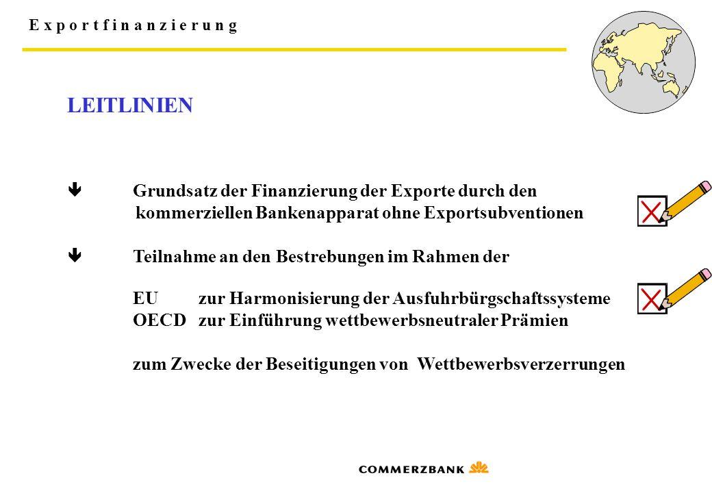 E x p o r t f i n a n z i e r u n g LEITLINIEN  Grundsatz der Finanzierung der Exporte durch den kommerziellen Bankenapparat ohne Exportsubventionen
