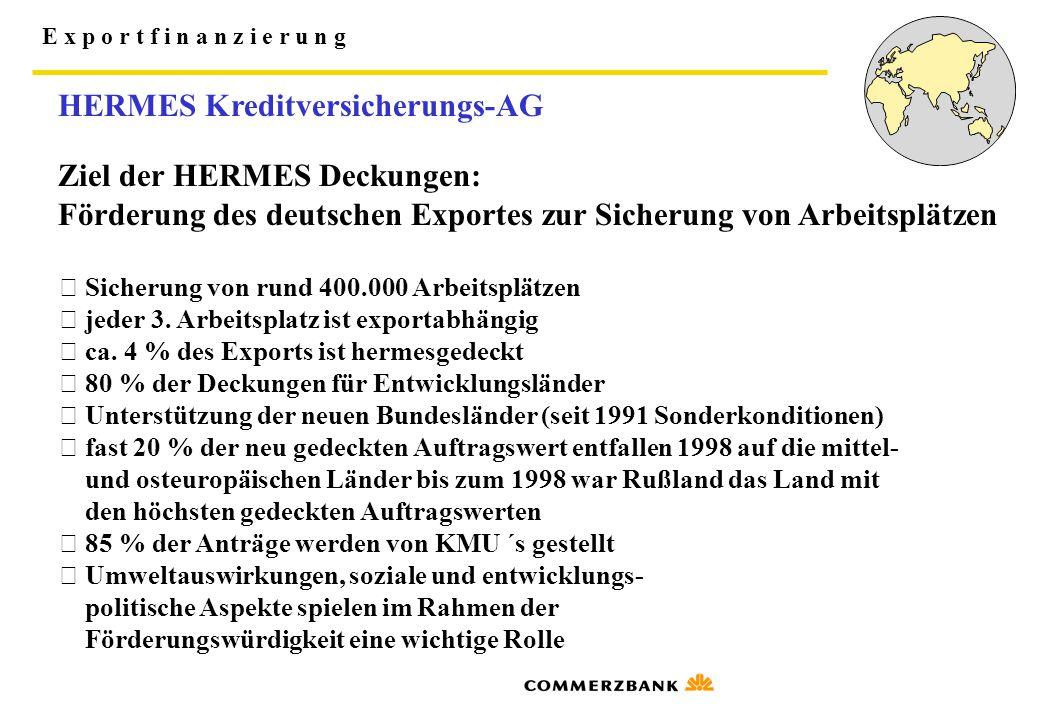 E x p o r t f i n a n z i e r u n g HERMES Kreditversicherungs-AG Ziel der HERMES Deckungen: Förderung des deutschen Exportes zur Sicherung von Arbeit