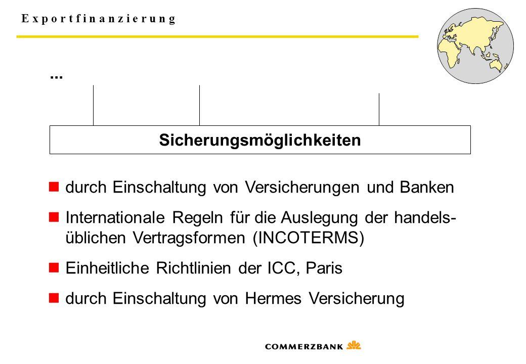 E x p o r t f i n a n z i e r u n g... Sicherungsmöglichkeiten durch Einschaltung von Versicherungen und Banken Internationale Regeln für die Auslegun
