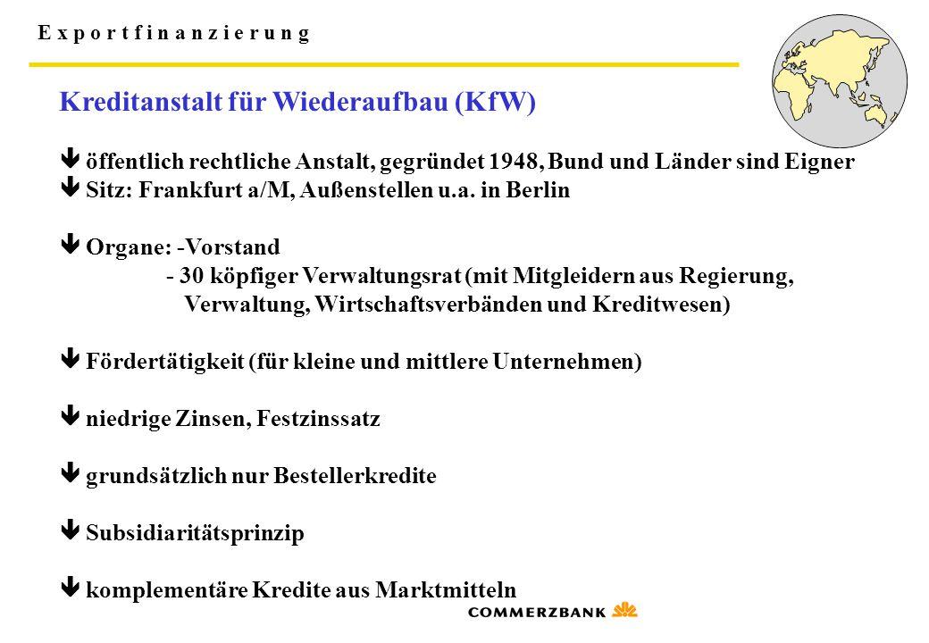 E x p o r t f i n a n z i e r u n g Kreditanstalt für Wiederaufbau (KfW)  öffentlich rechtliche Anstalt, gegründet 1948, Bund und Länder sind Eigner