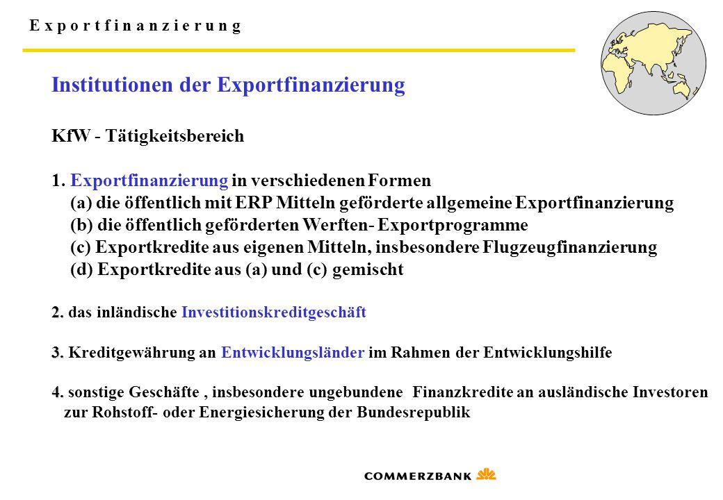 E x p o r t f i n a n z i e r u n g Institutionen der Exportfinanzierung KfW - Tätigkeitsbereich 1. Exportfinanzierung in verschiedenen Formen (a) die