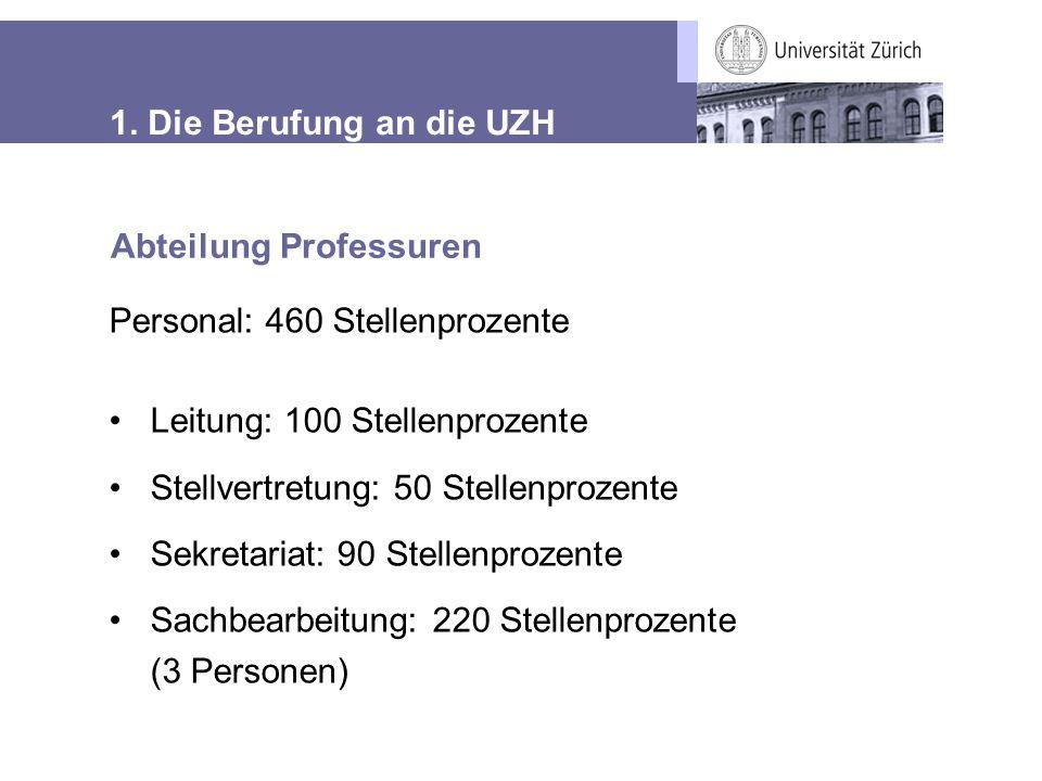 1. Die Berufung an die UZH Abteilung Professuren Personal: 460 Stellenprozente Leitung: 100 Stellenprozente Stellvertretung: 50 Stellenprozente Sekret