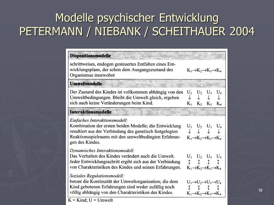 18 Modelle psychischer Entwicklung PETERMANN / NIEBANK / SCHEITHAUER 2004